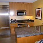 Stainless steel kitchen.