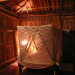 inside the cabana. comfy beds and mosquito nets