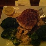crusted sea bass with mushroom risotto
