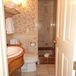 Bathroom was 6-steps down from the main floor. Clean and semi-functioning.