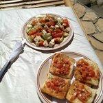 Greek salad and bruschetta