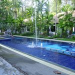 Beautiful pool surrounded by gardens and rooms
