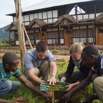 tree planting by clients around the lodge