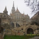 the fishermans bastion from the bottom of the hill