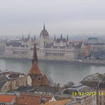 looking over the river danube into pest from the top of fishermans wharf