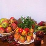 Obst und Gemüse vom Biomarkt in Sienna (Ortseingang).