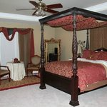 The beautiful bed in the Southern Grace Suite