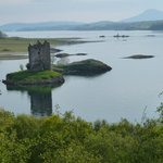 Castle Stalker from viewing area at Cafe.