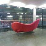 Red sofa on every floor lobby