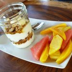 granola, yogurt and fresh fruit