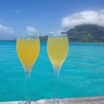 cheers! mimosas on our deck