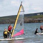 kids windsurfing in kilkee bay