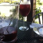 nearing the bottom of a pitcher of Sangria