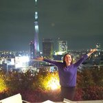 Night view of Skytree from the Gate Hotel Kaminarimon's rooftop patio