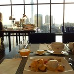 Eggs Benedict and morning view from the Gate Hotel Kaminarimon's breakfast room