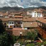 View of Cuzco from the upper balcony, with courtyard below.