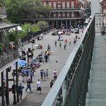 View from our balcony. Overlooking the bustling Jackson Square! I miss this view!