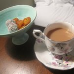 Our nightly treat of dried fruits, chocolate and tea.