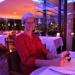 Cynthia dining in the Coast Restaurant