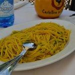 Pasta med saffran, zuccini & skinka