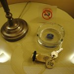 our non smoking room with ashtray and sign
