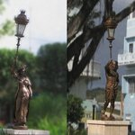 XIX Century bronze statues all around the square