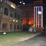 Hilton with Christmas lights during snowfall, Dec. 2012