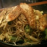 Chicken Yaki Soba served sizzling on a piping hot plate