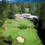 Pro shop and mallards cafe & pub are backdrop for this stunning hole.