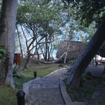 View of the path to la laguna (notice the hammocks!)