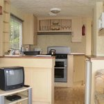 Pine tree caravan - view of lounge and kitchen area