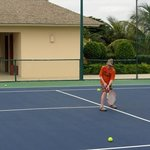 Free tennis lessons at 8:00 and 10:00 A.M.