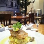 fillet of salmon&glass of prosecco