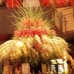 Lovely flower arrangement in the heart of the restaurant.