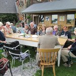 Group having a seafood lunch at Skipness, Argyll