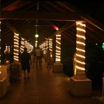 Walkway to rooms at night