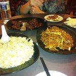 Fried rice, eggplant, fried noodles, spring rolls