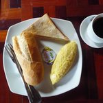 fruit bread toast tea coffee - one breakfast option