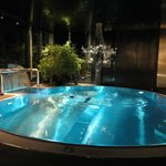 Indoor heated pool with stunning chandeliers