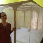 Our room, clean and equipped with a mosquito net (though it wasn't needed when we were there)