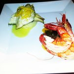 king prawns and sea bass