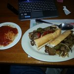 homemade Italian sausage sandwich. Hey Betsy substitute a side of spaghetti wi