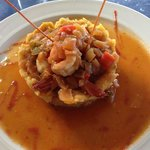 Mofongo filled with Shrimps in a tropical sauce with guava