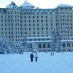 Returning to Chateau after a hike on frozen Lake Louise