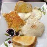 Chicken Fried Steak & Eggs, Hashbrowns, Toast