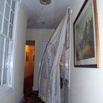 spooking crowd in corridor by room