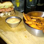 Stuffed burger with yam fries