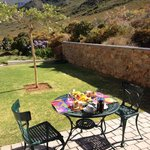 Private back garden with Braai (BBQ), table & chairs & an incredible view!