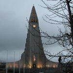 Right across from the hallgrimskirkja church