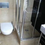 small shower stall but great water pressure!